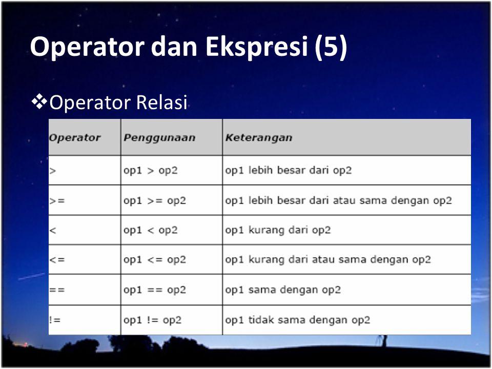 Operator dan Ekspresi (5)  Operator Relasi