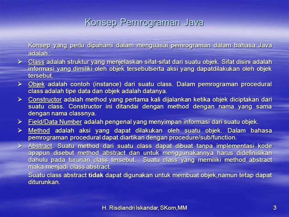 H. Risdiandri Iskandar, SKom,MM3 Konsep Pemrograman Java Konsep yang perlu dipahami dalam menguasai pemrograman dalam bahasa Java adalah :  Class ada