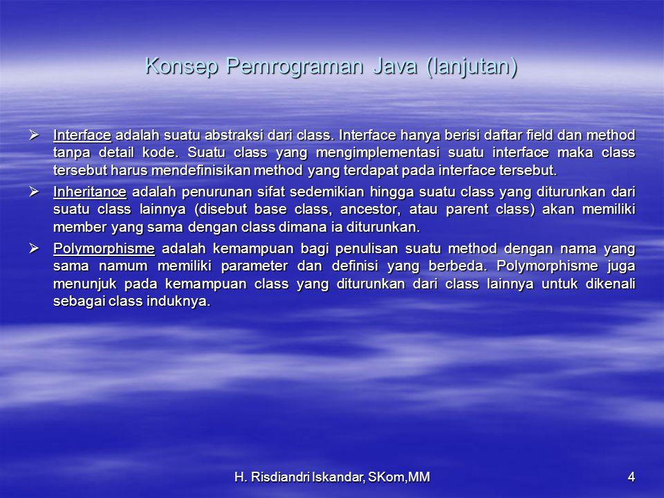 H. Risdiandri Iskandar, SKom,MM4 Konsep Pemrograman Java (lanjutan)  Interface adalah suatu abstraksi dari class. Interface hanya berisi daftar field