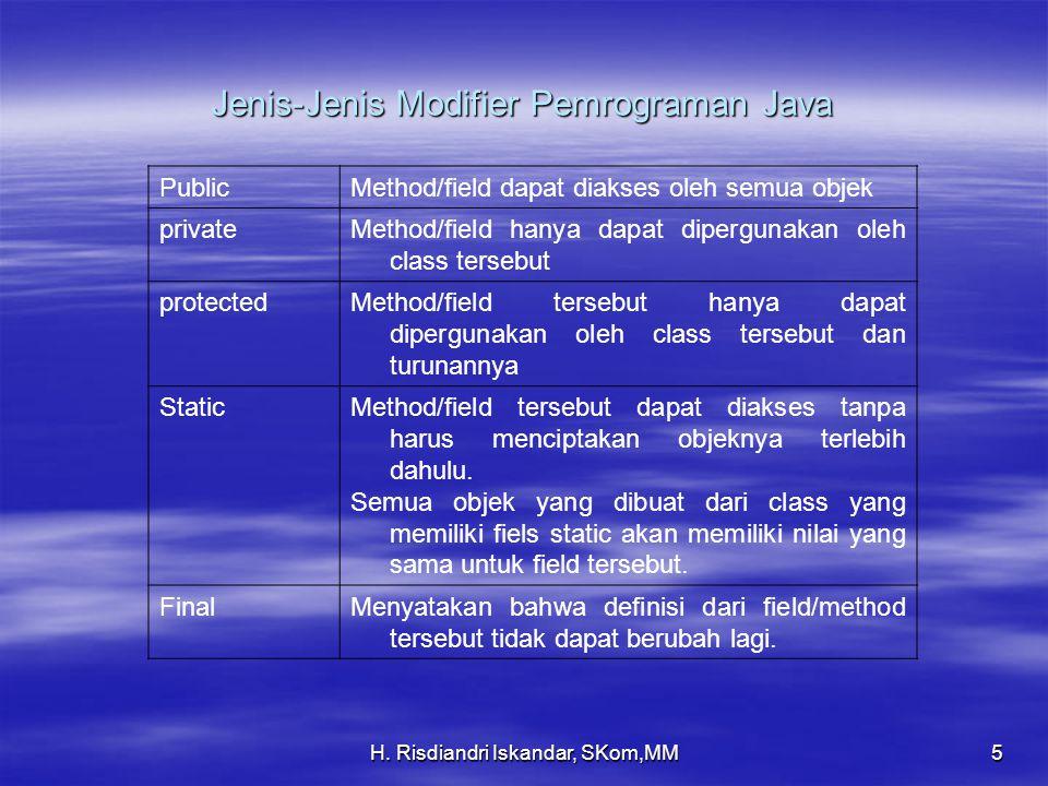 H. Risdiandri Iskandar, SKom,MM5 Jenis-Jenis Modifier Pemrograman Java PublicMethod/field dapat diakses oleh semua objek privateMethod/field hanya dap