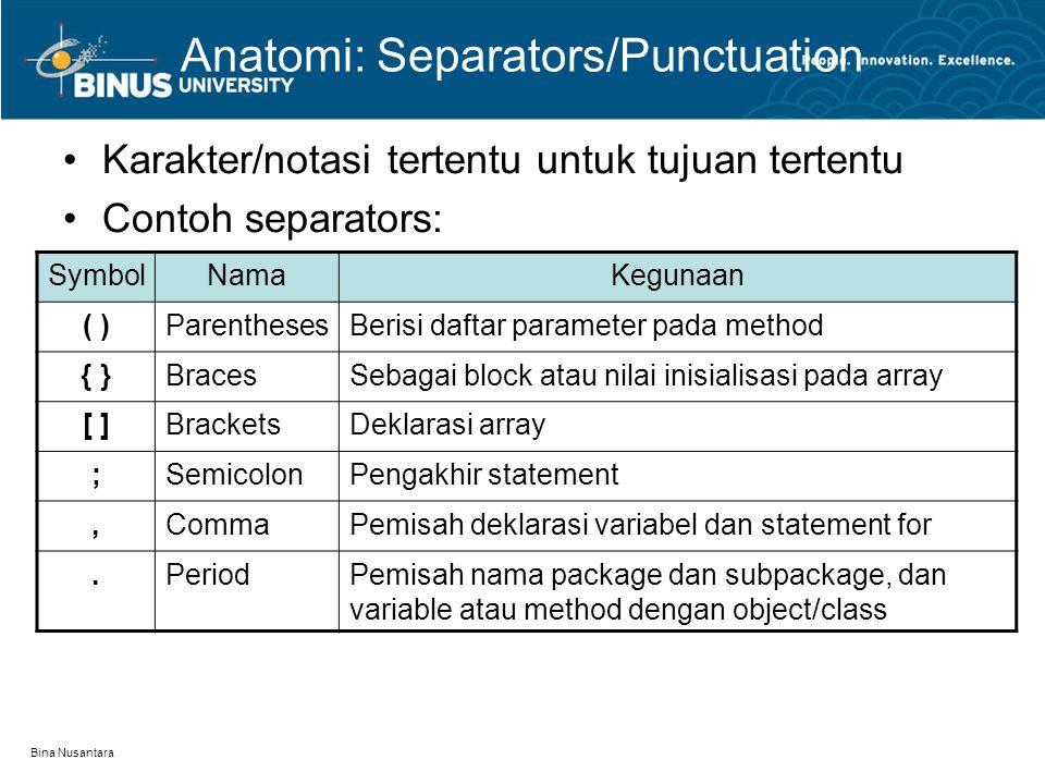 Bina Nusantara Anatomi: Separators/Punctuation Karakter/notasi tertentu untuk tujuan tertentu Contoh separators: SymbolNamaKegunaan ( )ParenthesesBeri