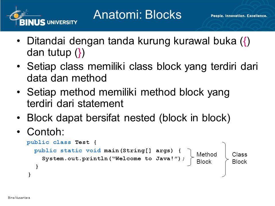 Bina Nusantara Anatomi: Blocks Ditandai dengan tanda kurung kurawal buka ({) dan tutup (}) Setiap class memiliki class block yang terdiri dari data da