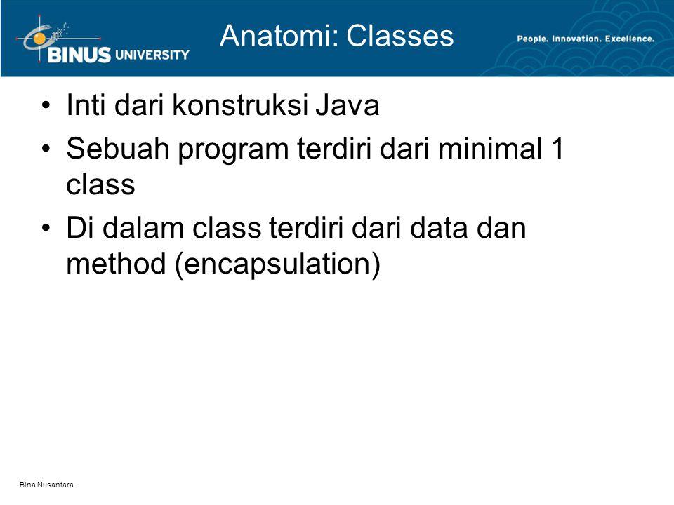 Bina Nusantara Anatomi: Classes Inti dari konstruksi Java Sebuah program terdiri dari minimal 1 class Di dalam class terdiri dari data dan method (enc