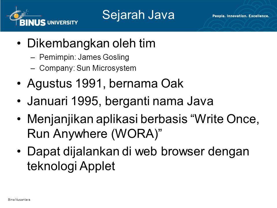Bina Nusantara Sejarah Java Dikembangkan oleh tim –Pemimpin: James Gosling –Company: Sun Microsystem Agustus 1991, bernama Oak Januari 1995, berganti