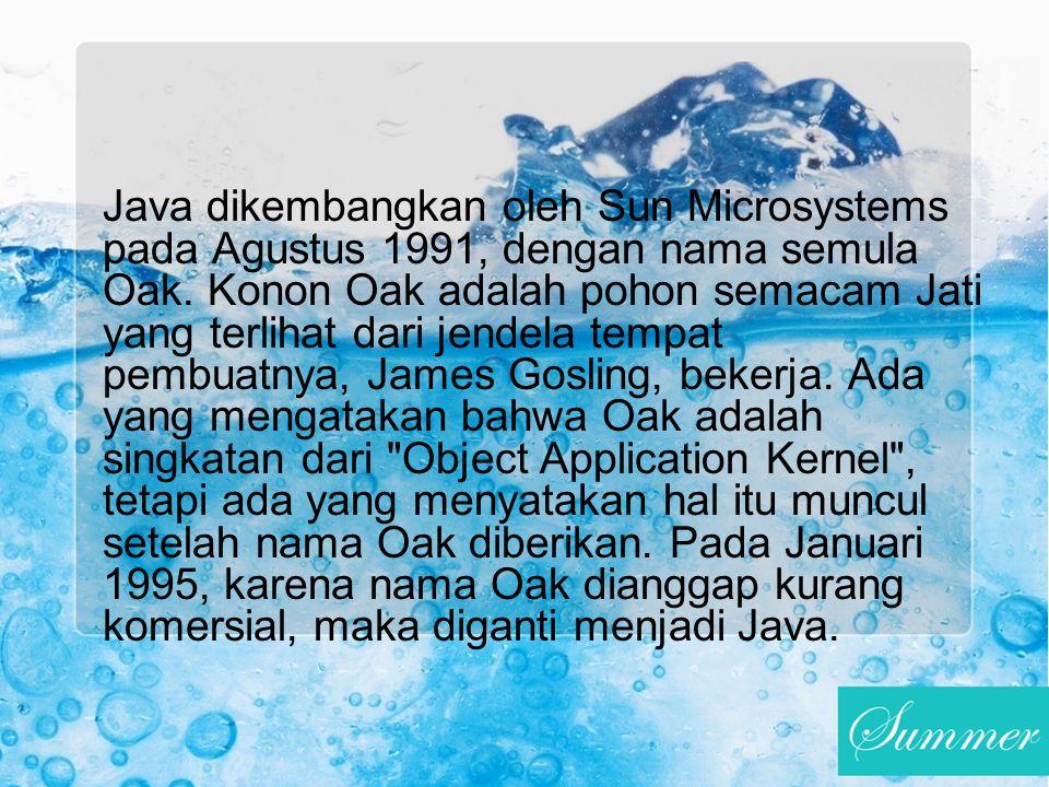 Java dikembangkan oleh Sun Microsystems pada Agustus 1991, dengan nama semula Oak. Konon Oak adalah pohon semacam Jati yang terlihat dari jendela temp
