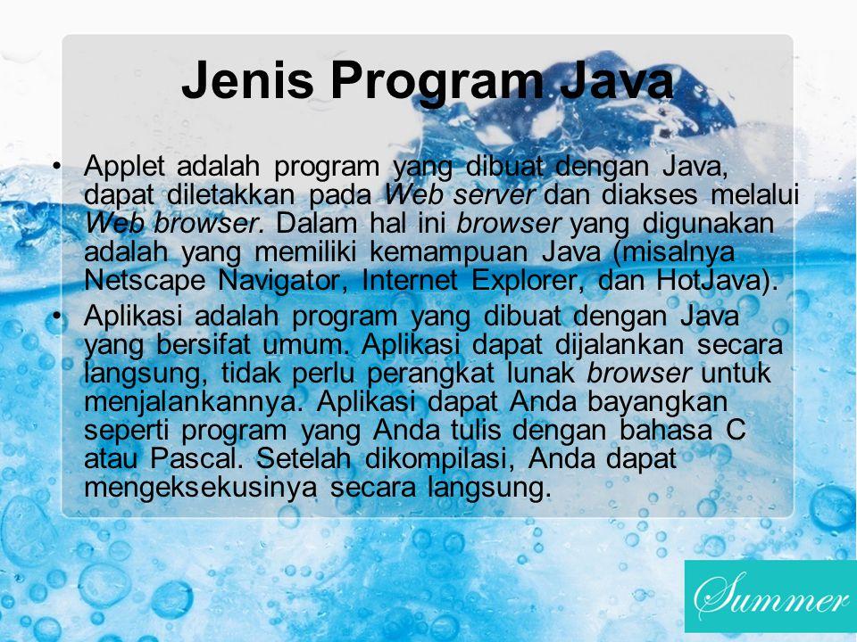 Jenis Program Java Applet adalah program yang dibuat dengan Java, dapat diletakkan pada Web server dan diakses melalui Web browser. Dalam hal ini brow