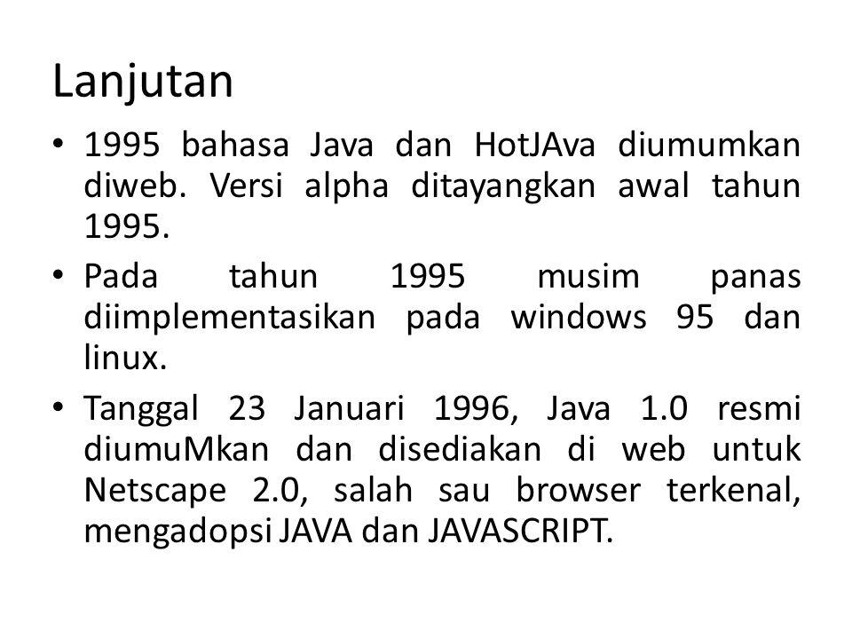 Lanjutan 1995 bahasa Java dan HotJAva diumumkan diweb. Versi alpha ditayangkan awal tahun 1995. Pada tahun 1995 musim panas diimplementasikan pada win