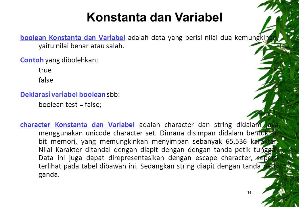 boolean Konstanta dan Variabel adalah data yang berisi nilai dua kemungkinan, yaitu nilai benar atau salah. Contoh yang dibolehkan: true false Deklara
