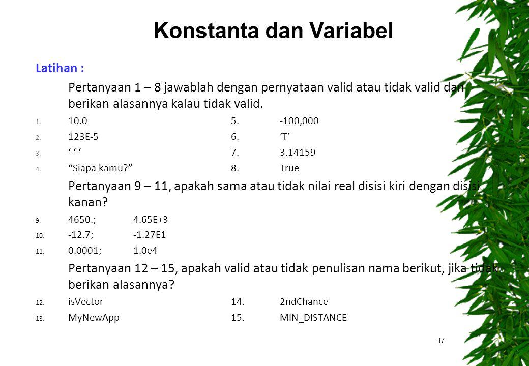 Latihan : Pertanyaan 1 – 8 jawablah dengan pernyataan valid atau tidak valid dan berikan alasannya kalau tidak valid. 1. 10.05.-100,000 2. 123E-56.'T'