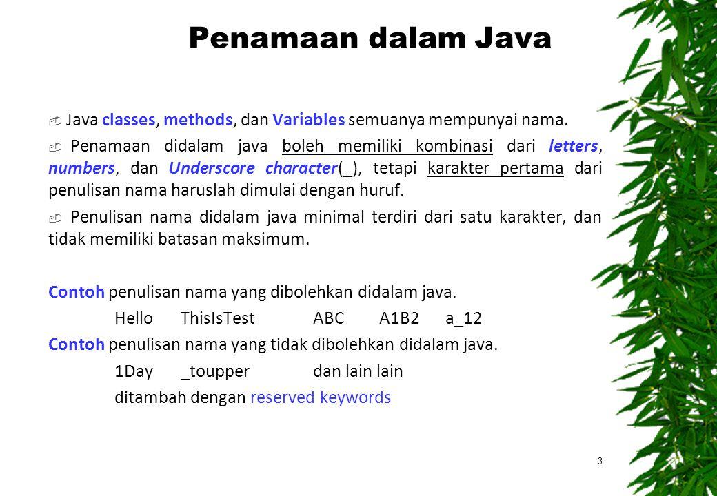Penamaan dalam Java  Java classes, methods, dan Variables semuanya mempunyai nama.  Penamaan didalam java boleh memiliki kombinasi dari letters, num