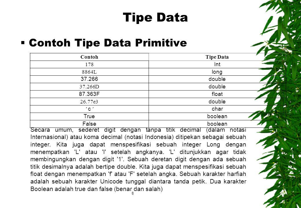ContohTipe Data 178 Int 8864L long 37.266double 37.266D double 87.363Ffloat 26.77e3 double c c char Trueboolean Falseboolean Secara umum, sederet digit dengan tanpa titik decimal (dalam notasi Internasional) atau koma decimal (notasi Indonesia) ditipekan sebagai sebuah integer.