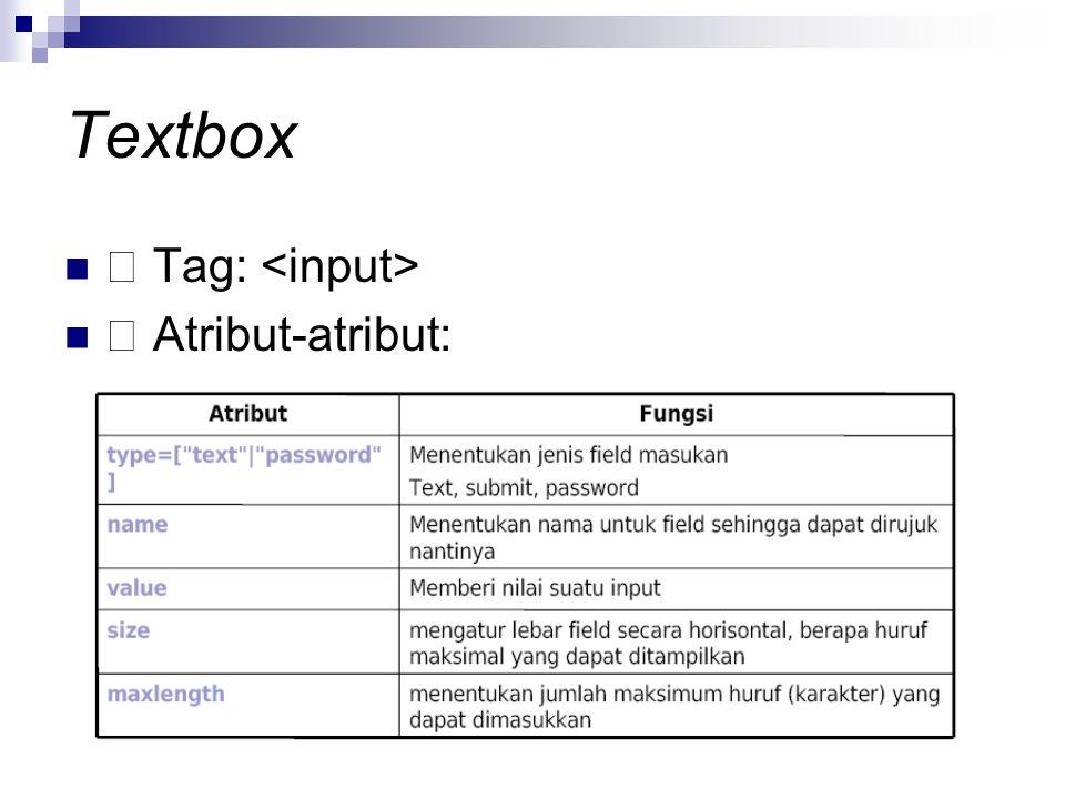 Textbox Tag: Atribut-atribut: