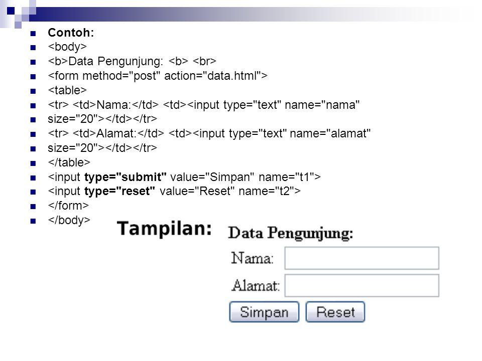 Contoh: Data Pengunjung: Nama: <input type=