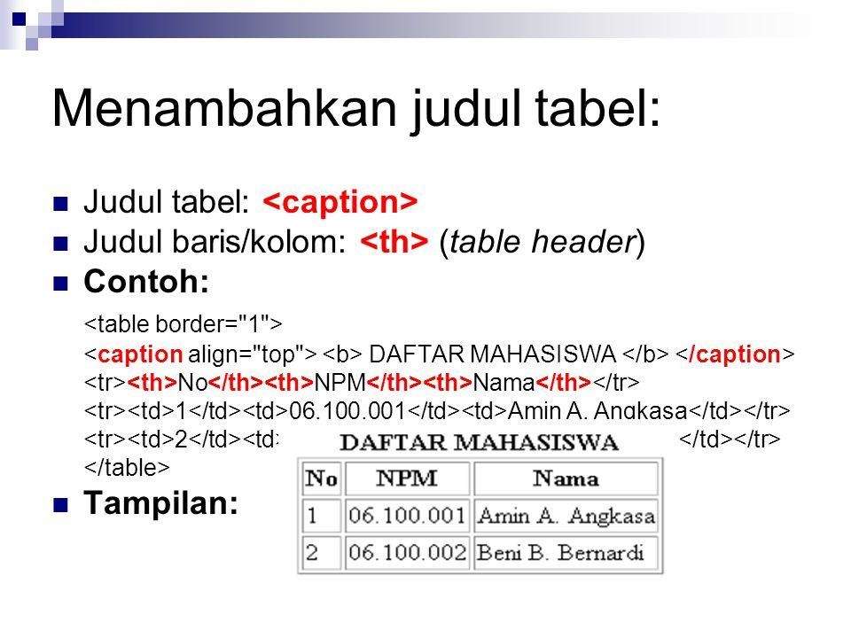 Menambahkan judul tabel: Judul tabel: Judul baris/kolom: (table header) Contoh: DAFTAR MAHASISWA No NPM Nama 1 06.100.001 Amin A. Angkasa 2 06.100.002