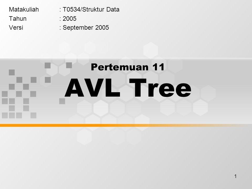 1 Pertemuan 11 AVL Tree Matakuliah: T0534/Struktur Data Tahun: 2005 Versi: September 2005