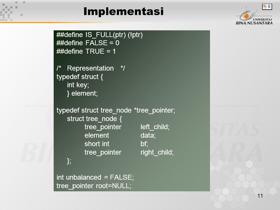 11 Implementasi ##define IS_FULL(ptr) (!ptr) ##define FALSE = 0 ##define TRUE = 1 /*Representation */ typedef struct { int key; } element; typedef str