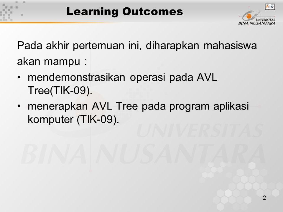 2 Learning Outcomes Pada akhir pertemuan ini, diharapkan mahasiswa akan mampu : mendemonstrasikan operasi pada AVL Tree(TIK-09). menerapkan AVL Tree p