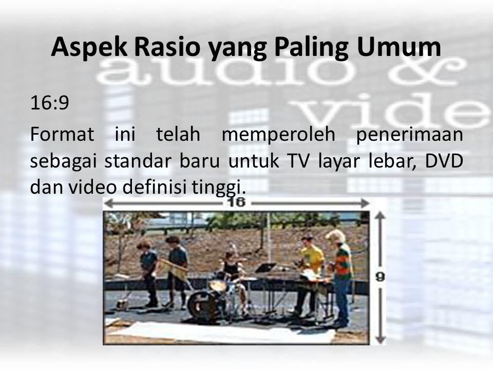 Aspek Rasio yang Paling Umum 21:9 Sebuah format layar yang sangat luas digunakan untuk film rilis teater..