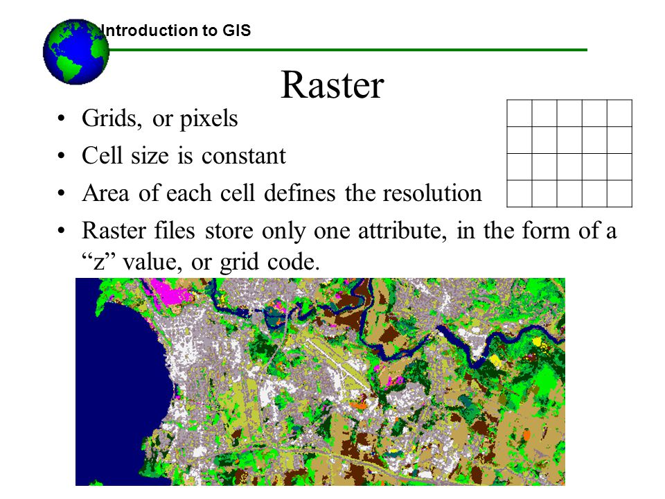 ©2005 Austin Troy. All rights reserved Raster Grids, or pixels Cell size is constant Area of each cell defines the resolution Raster files store only
