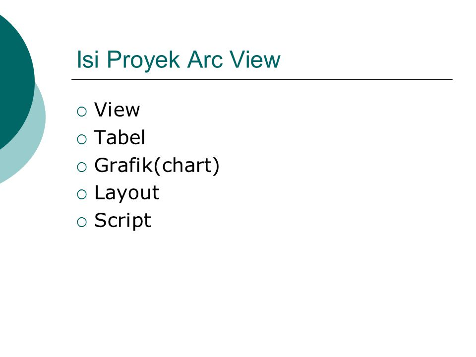 Isi Proyek Arc View  View  Tabel  Grafik(chart)  Layout  Script