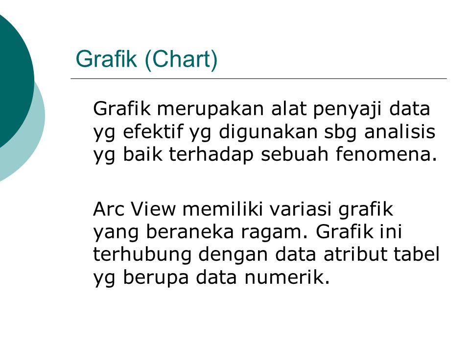 Grafik (Chart) Grafik merupakan alat penyaji data yg efektif yg digunakan sbg analisis yg baik terhadap sebuah fenomena. Arc View memiliki variasi gra