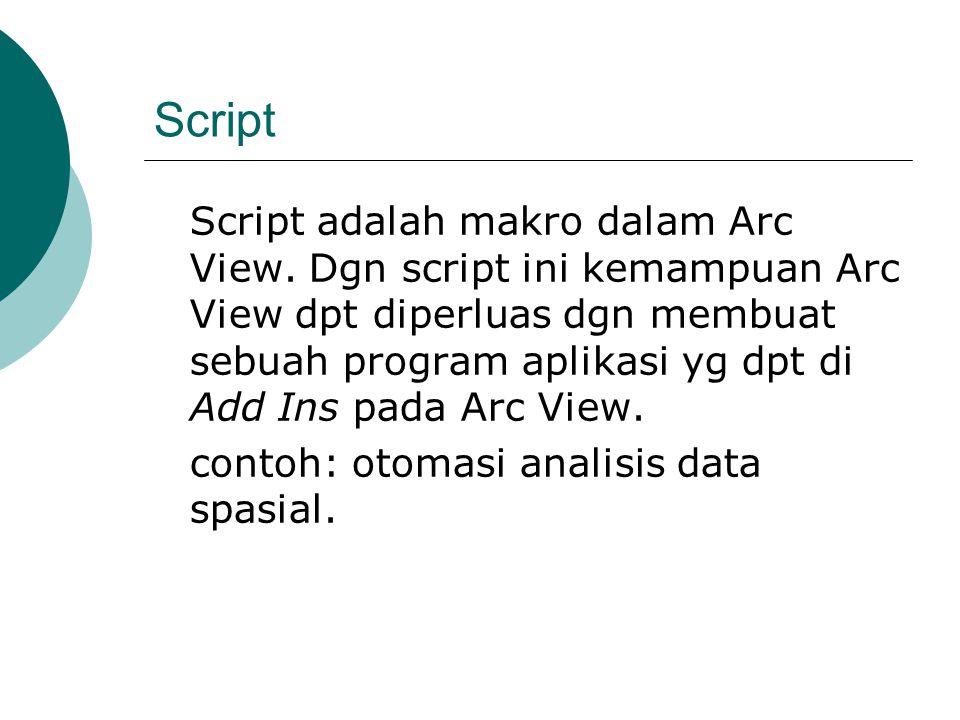 Script Script adalah makro dalam Arc View. Dgn script ini kemampuan Arc View dpt diperluas dgn membuat sebuah program aplikasi yg dpt di Add Ins pada