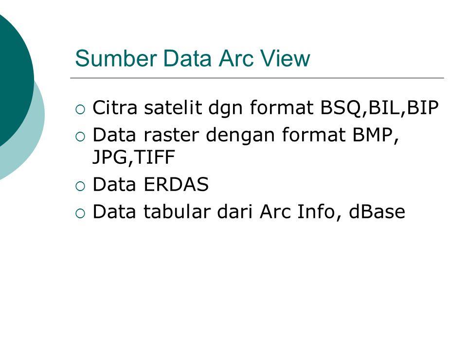 Sumber Data Arc View  Citra satelit dgn format BSQ,BIL,BIP  Data raster dengan format BMP, JPG,TIFF  Data ERDAS  Data tabular dari Arc Info, dBase