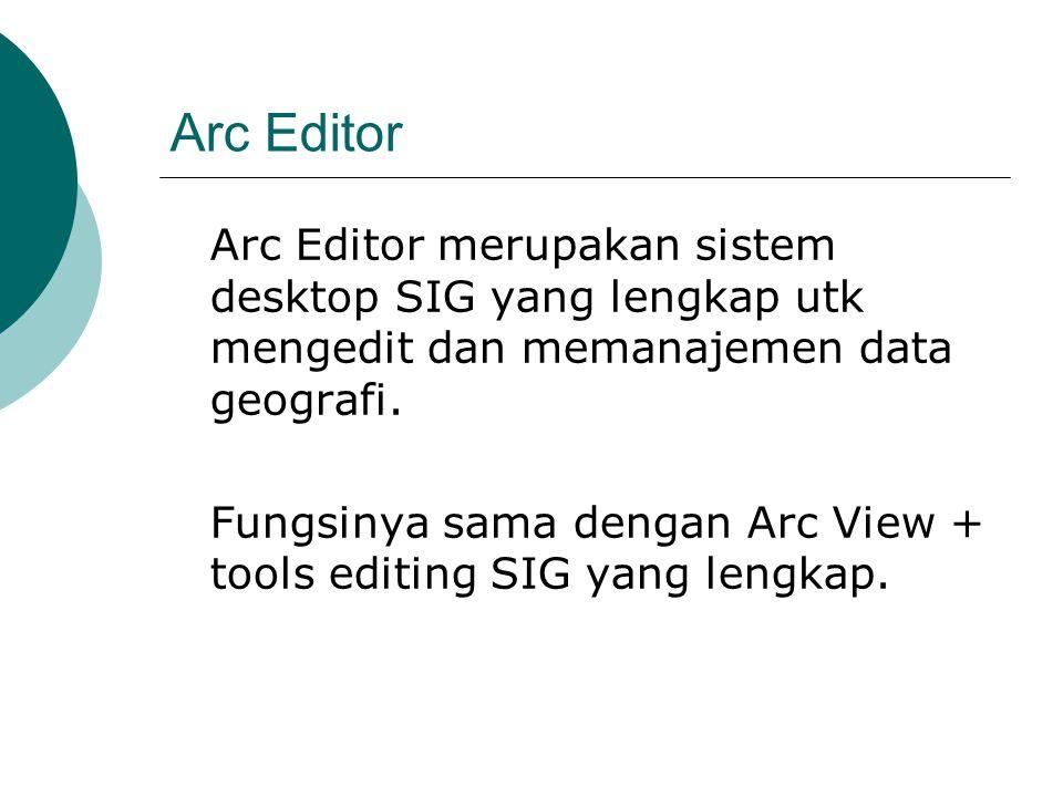 Arc Editor Arc Editor merupakan sistem desktop SIG yang lengkap utk mengedit dan memanajemen data geografi. Fungsinya sama dengan Arc View + tools edi