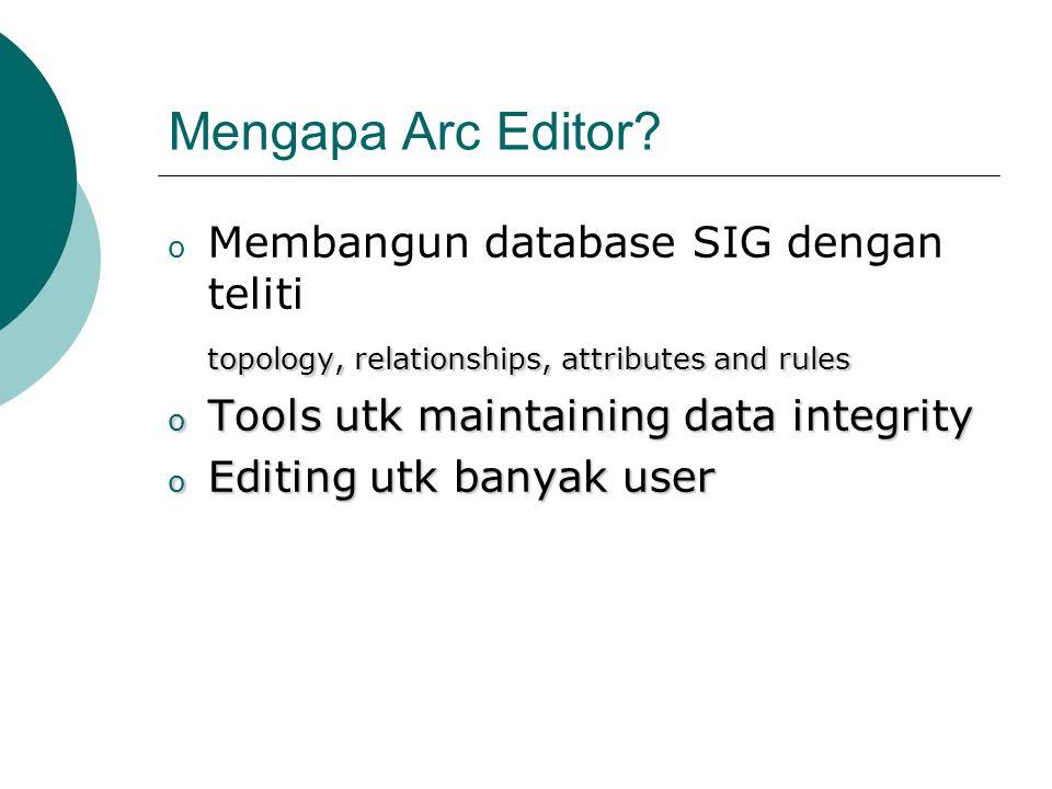 Mengapa Arc Editor? o Membangun database SIG dengan teliti topology, relationships, attributes and rules o Tools utk maintaining data integrity o Edit