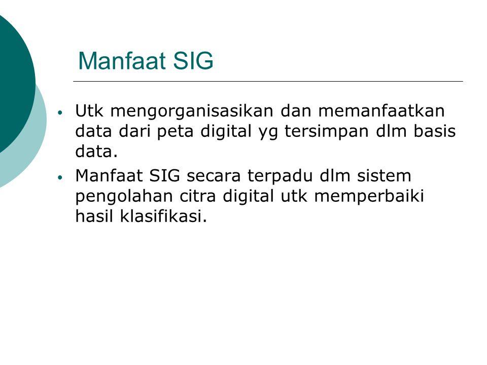 Manfaat SIG Utk mengorganisasikan dan memanfaatkan data dari peta digital yg tersimpan dlm basis data. Manfaat SIG secara terpadu dlm sistem pengolaha