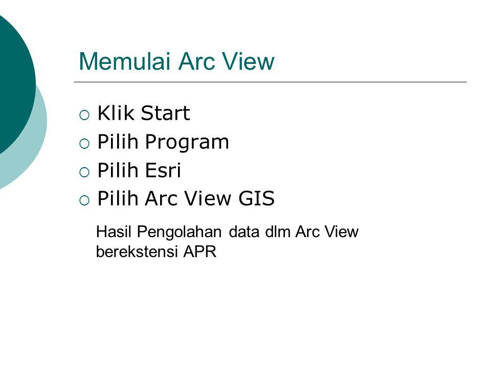 Memulai Arc View  Klik Start  Pilih Program  Pilih Esri  Pilih Arc View GIS Hasil Pengolahan data dlm Arc View berekstensi APR