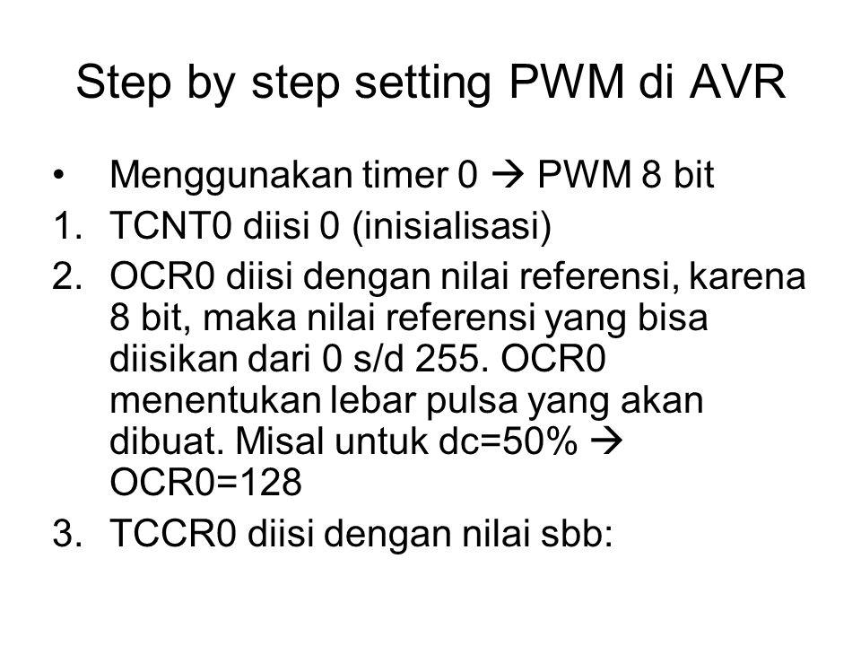 Step by step setting PWM di AVR Menggunakan timer 0  PWM 8 bit 1.TCNT0 diisi 0 (inisialisasi) 2.OCR0 diisi dengan nilai referensi, karena 8 bit, maka