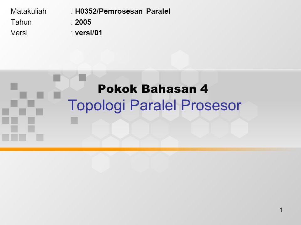 1 Pokok Bahasan 4 Topologi Paralel Prosesor Matakuliah: H0352/Pemrosesan Paralel Tahun: 2005 Versi: versi/01