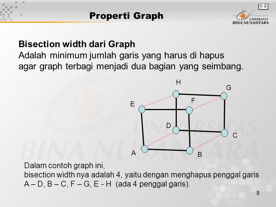 9 Bisection width dari Graph Adalah minimum jumlah garis yang harus di hapus agar graph terbagi menjadi dua bagian yang seimbang. Dalam contoh graph i