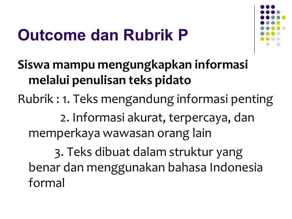 Outcome dan Rubrik P Siswa mampu mengungkapkan informasi melalui penulisan teks pidato Rubrik : 1. Teks mengandung informasi penting 2. Informasi akur