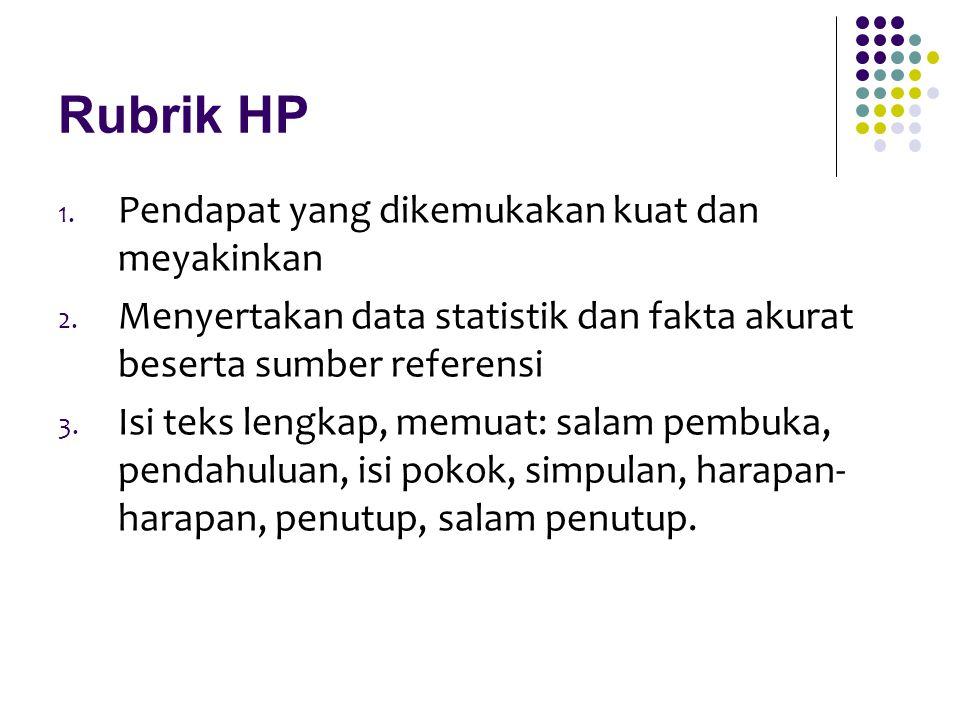 Rubrik HP 1. Pendapat yang dikemukakan kuat dan meyakinkan 2. Menyertakan data statistik dan fakta akurat beserta sumber referensi 3. Isi teks lengkap