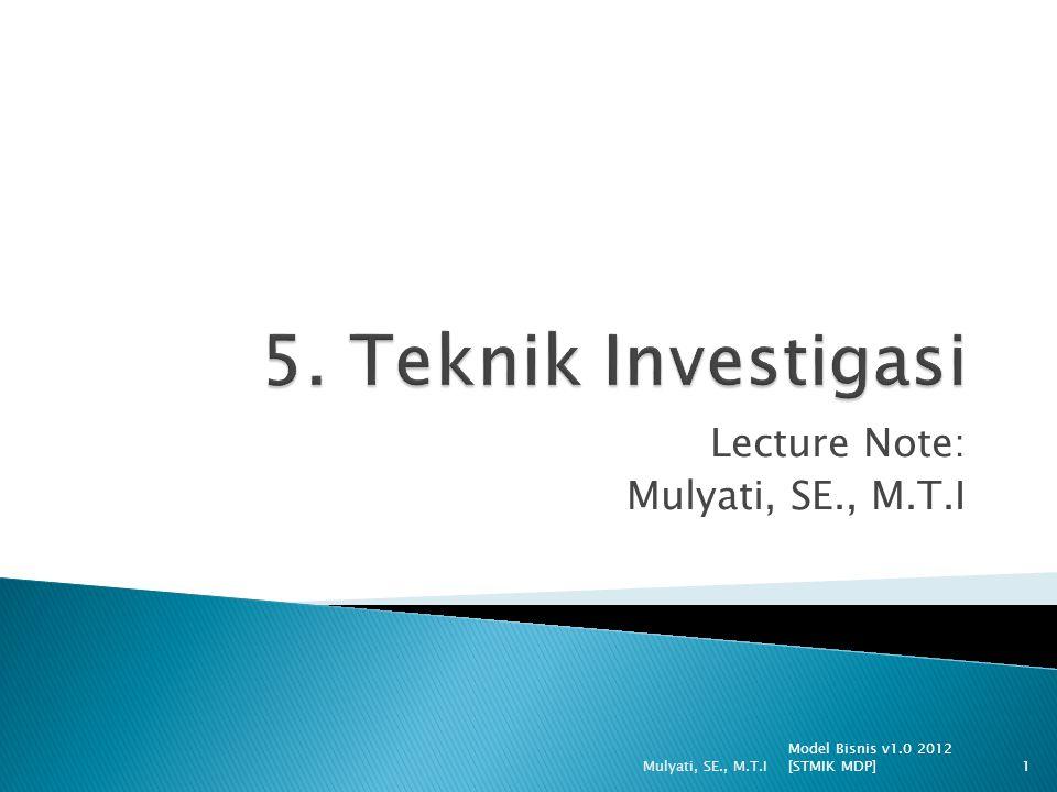  Keuntungan interview: 1.Kesempatan membangun hubungan dengan stakeholder bisnis 2.Memperoleh informasi penting 3.Kesempatan untuk memahami sudut pandang yang berbeda dari para stakeholder 4.Kesempatan untuk menginvestigasi area baru yang muncul 5.Kesempatan untuk mengambil contoh dokumen, form dan laporan yang digunakan user 6.Menghargai faktor politik yang mungkin timbul 7.Mempelajari lingkungan tempat staf bisnis bekerja Model Bisnis v1.0 2012 [STMIK MDP] Mulyati, SE., M.T.I12