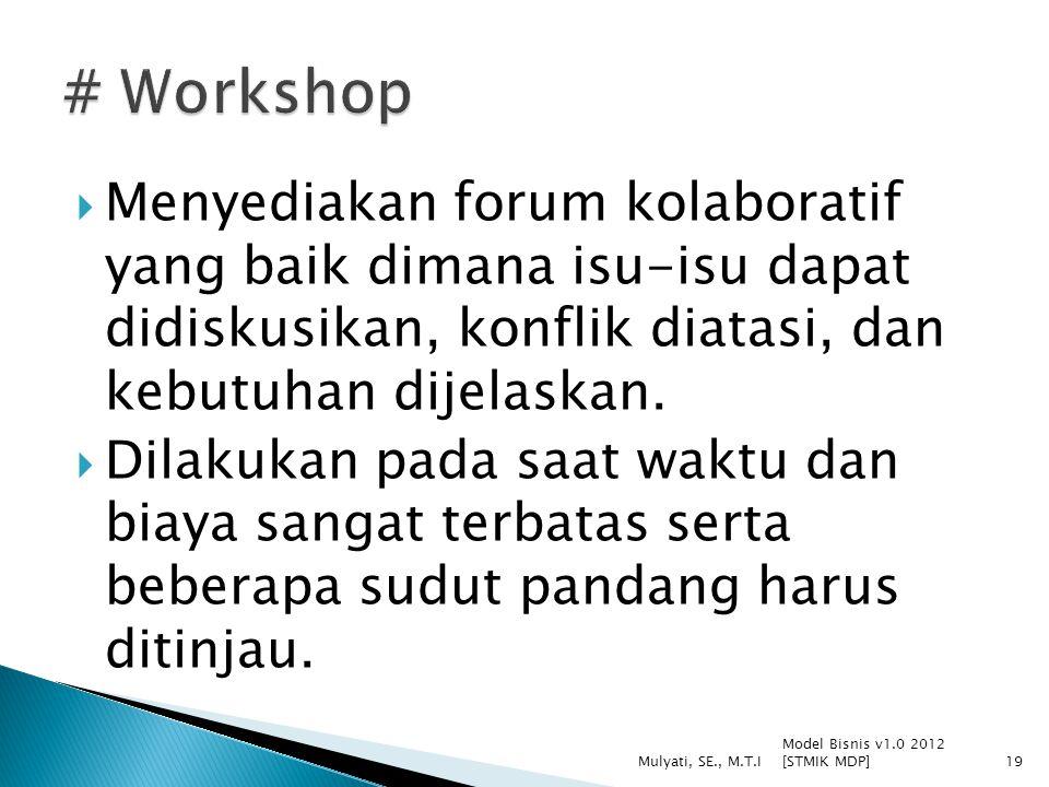  Menyediakan forum kolaboratif yang baik dimana isu-isu dapat didiskusikan, konflik diatasi, dan kebutuhan dijelaskan.  Dilakukan pada saat waktu da