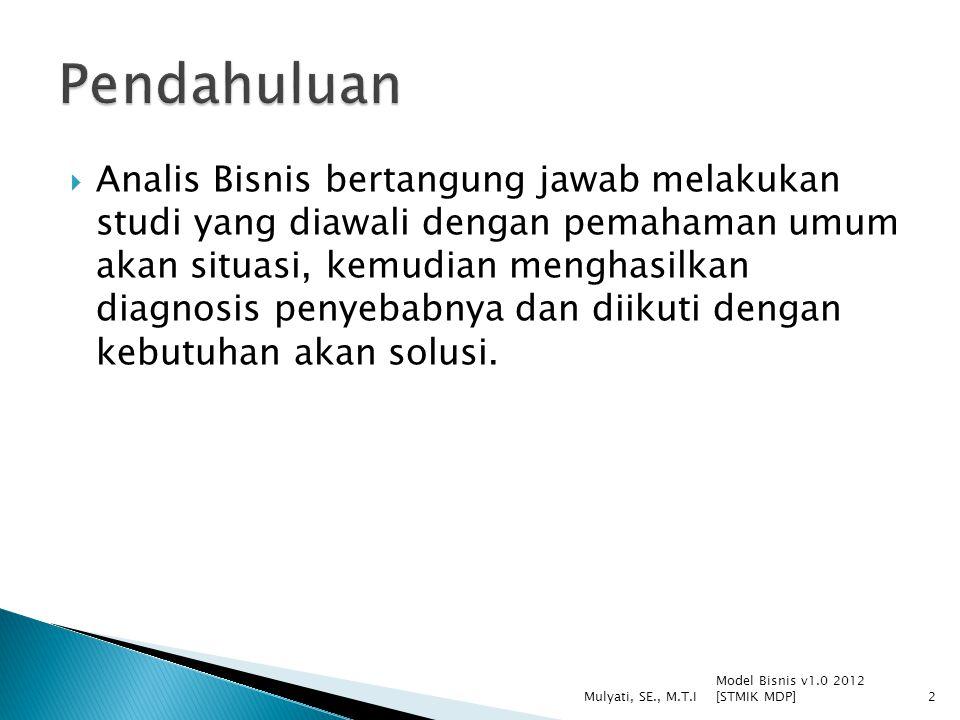 Model Bisnis v1.0 2012 [STMIK MDP] Mulyati, SE., M.T.I33