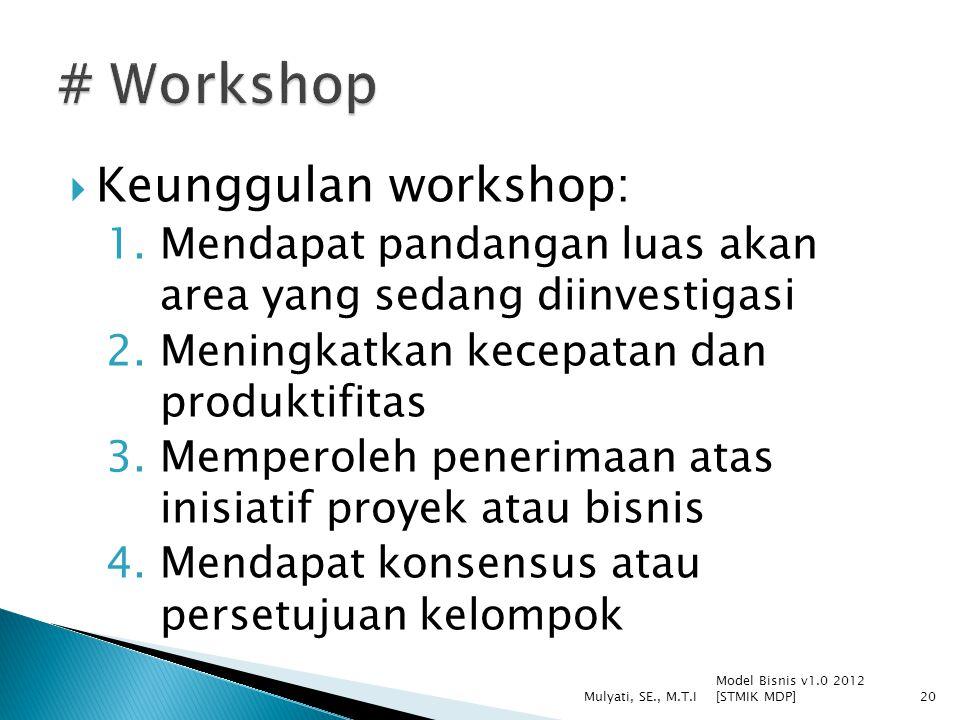  Keunggulan workshop: 1.Mendapat pandangan luas akan area yang sedang diinvestigasi 2.Meningkatkan kecepatan dan produktifitas 3.Memperoleh penerimaa