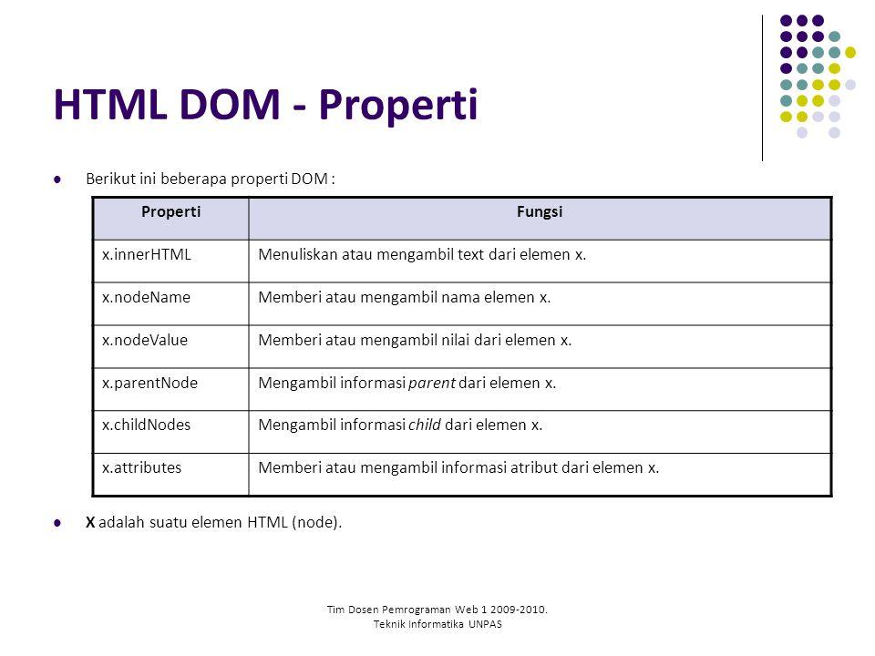 Tim Dosen Pemrograman Web 1 2009-2010. Teknik Informatika UNPAS HTML DOM - Properti Berikut ini beberapa properti DOM : X adalah suatu elemen HTML (no