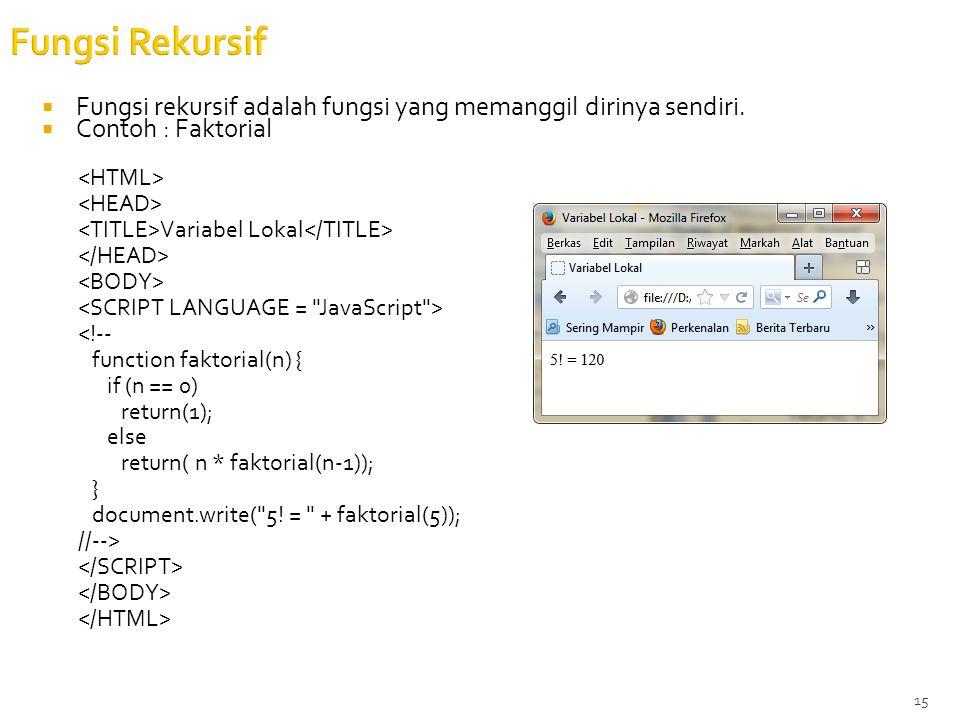 15 Fungsi Rekursif  Fungsi rekursif adalah fungsi yang memanggil dirinya sendiri.