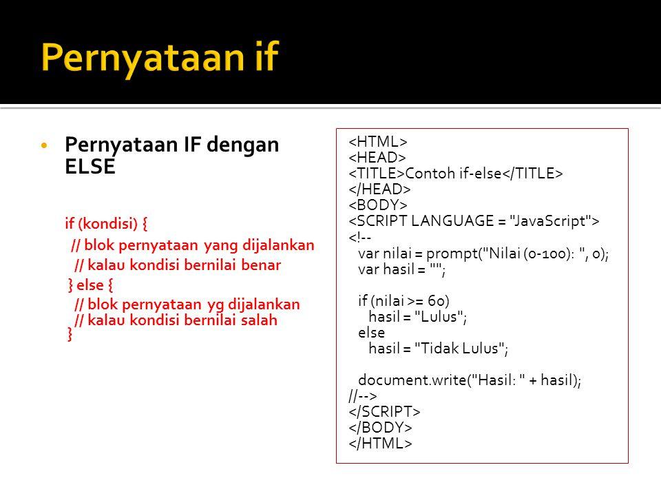 5 Pernyataan IF Bersarang Contoh if Berkalang <!-- var tanggal = new Date(); var kode_hari = tanggal.getDay(); var nama_hari = ; if (kode_hari == 0) nama_hari = Minggu ; else if (kode_hari == 1) nama_hari = Senin ; else if (kode_hari == 2) nama_hari = Selasa ; else if (kode_hari == 3) nama_hari = Rabu ; else if (kode_hari == 4) nama_hari = Kamis ; else if (kode_hari == 5) nama_hari = Jumat ; else nama_hari = Sabtu ; document.write( Hari ini hari + nama_hari); document.write( , tanggal + tanggal.getDate() + / + (tanggal.getMonth() + 1) + / + tanggal.getYear()); //-->