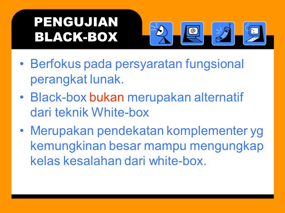 PENGUJIAN BLACK-BOX Berfokus pada persyaratan fungsional perangkat lunak. Black-box bukan merupakan alternatif dari teknik White-box Merupakan pendeka