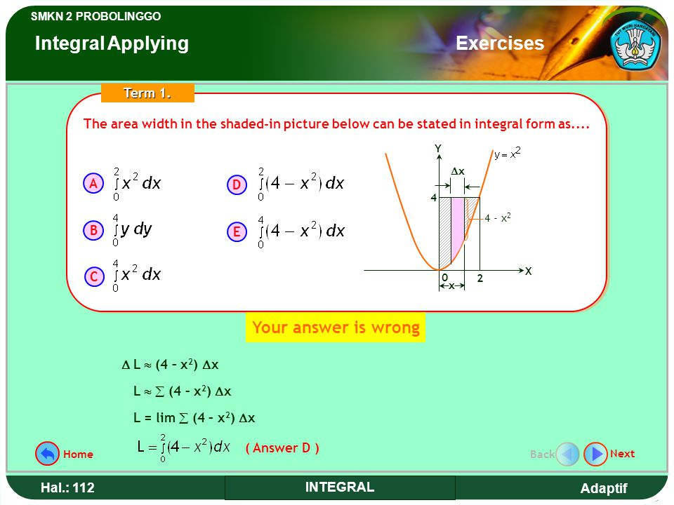 Adaptif SMKN 2 PROBOLINGGO Hal.: 112 INTEGRAL The area width in the shaded-in picture below can be stated in integral form as....
