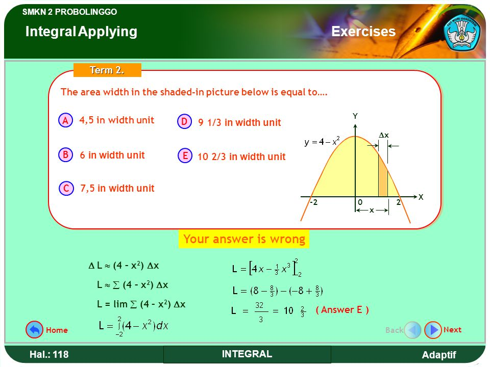 Adaptif SMKN 2 PROBOLINGGO Hal.: 118 INTEGRAL The area width in the shaded-in picture below is equal to….