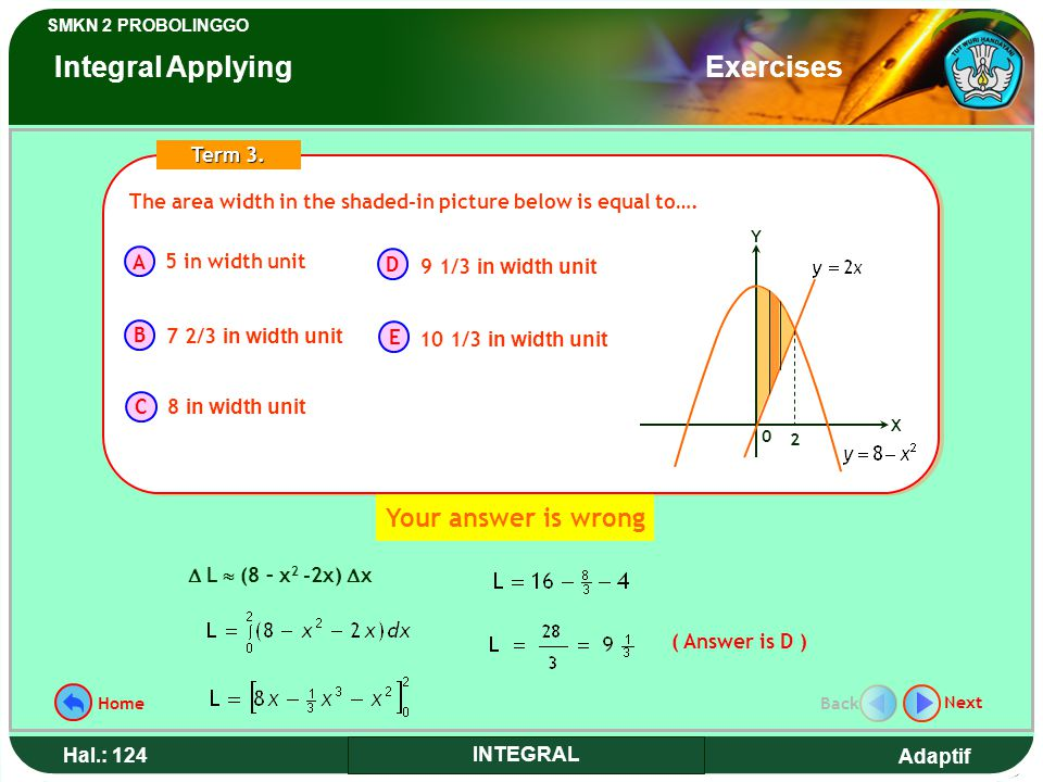 Adaptif SMKN 2 PROBOLINGGO Hal.: 124 INTEGRAL The area width in the shaded-in picture below is equal to….