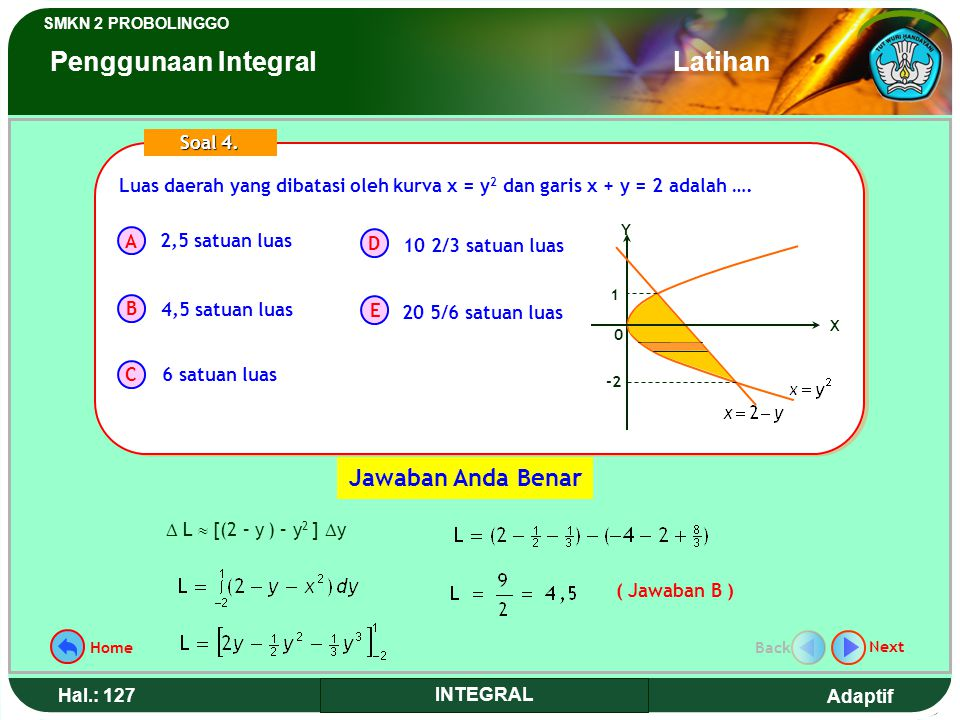 Adaptif SMKN 2 PROBOLINGGO Hal.: 126 INTEGRAL The area width that is limited by curve x = y 2 and line x + y = 2 is…. A B C D E Term 4. 2,5 in width u