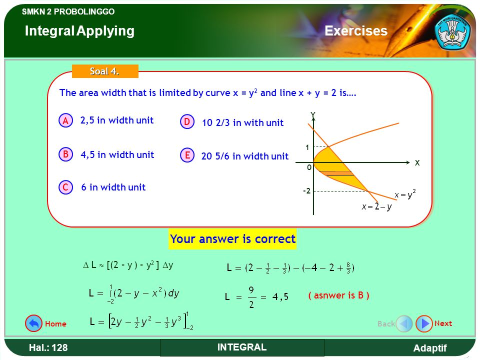 Adaptif SMKN 2 PROBOLINGGO Hal.: 128 INTEGRAL The area width that is limited by curve x = y 2 and line x + y = 2 is….