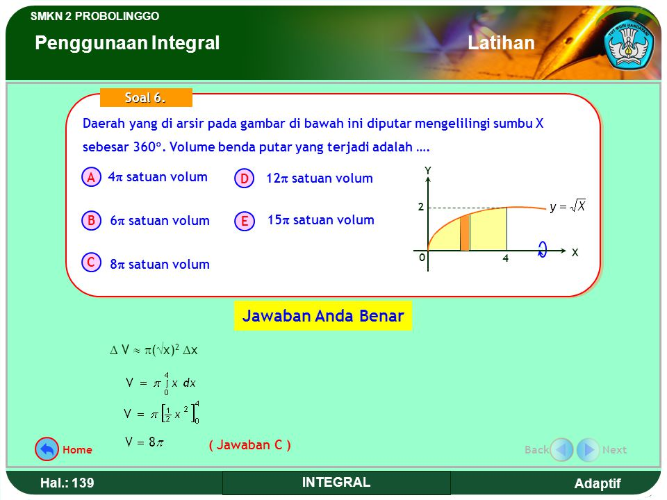 Adaptif SMKN 2 PROBOLINGGO Hal.: 138 INTEGRAL The shaded-in area in the picture below is rotated around the axis X at 360 . So the volume of rotated
